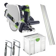Festool TS55FPACK 55mm Plunge Saw with Guide Rail, Clamps and Systainer Case