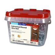 Timco  TIMco 40 x 2.65mm Galvanised Round Wire Nail - 2.5 KG Tub