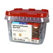 Timco  TIMco 50 x 2.65mm Galvanised Round Wire Nail - 2.5 KG Tub
