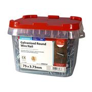 Timco  TIMco 75 x 3.75mm Galvanised Round Wire Nail - 2.5 KG Tub