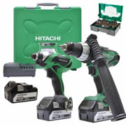 Hitachi KC18DKL/JB3 Hitachi 18v Li-ion Cordless 2 Piece Kit ( 3 x 5.0AH Batteries)