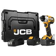 JCB 18BLID-4 18v Brushless Impact Driverr with 2 x 4Ah Batteries, Charger and Case