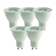 Luceco LGDN5W37501 LED Glass GU10 5w 370Lm Natural White Lamps - Pack of 5