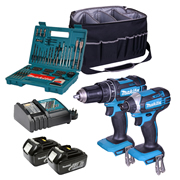Makita 2KIT Makita 18v Li-ion 3.0Ah Cordless 2 Piece Kit