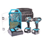 Makita 2SET Makita 18v Li-ion 2 Piece Kit in Bag with Bit Set - 2x 3.0Ah Batteries