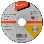 """Makita D-1877010 Makita 125mm (5"""") Stainless Steel Cutting Disc (Pack of 10)"""