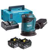 Makita DBO180RMJ 18v LXT 125mm Sander with 2 x 4Ah Batteries, Charger and Case