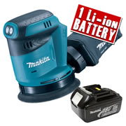 Makita DBO180Z3 Makita 18v Li-ion 125mm Orbital Sander Body + 1 x 3.0Ah Battery