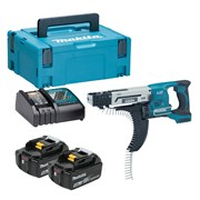 Makita DFR550RTJ Makita DFR550RTJ 18V LXT 25-55mm Auto-Feed Screwdriver with 2 x 5Ah Batteries, Charger and Case