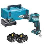 Makita DFS452RMJ 18v LXT Brushless Drywall Screwdriver with 2 x 4Ah Batteries, Charger and Case