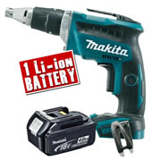 Makita DFS452Z4 Makita 18v Li-ion Brushless Drywall Screwdriver Body + 1 x 4.0Ah Battery