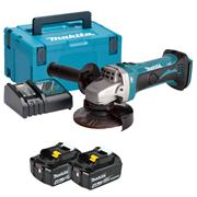 Makita DGA452RMJ 18v LXT 115mm Grinder with 2 x 4Ah Batteries, Charger and Case