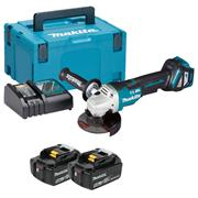 Makita DGA467RTJ 18v LXT Brushless 115mm Grinder with 2 x 5Ah Batteries, Charger and Case