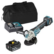 Makita DGA469 18V LXT 115mm Brushless X-LOCK Grinder with 1 x 3Ah Battery, Charger and Bag