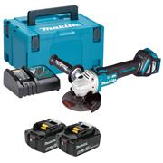 Makita DGA513RTJ 18v LXT Brushless 125mm Grinder with 2 x 5Ah Batteries, Charger and Case