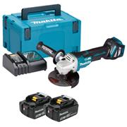 Makita DGA517RTJ 18v LXT Brushless 125mm Grinder with 2 x 5Ah Batteries, Charger and Case