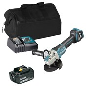 Makita DGA519 18V LXT 125mm Brushless X-LOCK Grinder with 1 x 3Ah Battery, Charger and Bag