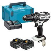 Makita DHP482RTWJ 18v LXT White Combi Drill with 2 x 5Ah Batteries, Charger and Case
