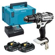 Makita DHP482W 18v LXT White Combi Drill with 2 x 2Ah Batteries, Charger and Case