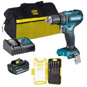 Makita DHP485PACK 18v LXT Brushless Combi Drill with 1 x 3Ah Battery, Charger, Bag and Accessories