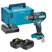 Makita DHP485RTJ 18v LXT Brushless Combi Drill with 2 x 5Ah Batteries, Charger and Case
