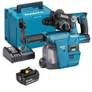 Makita DHR242RMJW 18v LXT Brushless SDS+ Drill with 1 x 4Ah Batteries, Charger and Case with DX06 Dust Extraction