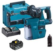 Makita DHR243RMJW 18v LXT Brushless SDS+ Drill with 1 x 4Ah Battery, Charger and Case with DX07 Dust Extraction