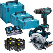 Makita DLX2140PTJ Makita DLX2140PTJ 36v (Twin 18V) LXT 3 Piece Kit with 4 x 5Ah Batteries, Dual Charger and Cases
