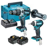 Makita DLX2176TJ 18v LXT Brushless 2 Piece Kit with 2 x 5Ah Batteries, Charger and Case