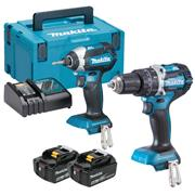 Makita DLX2180TJ 18v LXT Brushless 2 Piece Kit with 2 x 5Ah Batteries, Charger and Case
