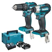 Makita DLX2221J 18v LXT Brushless 2 Piece Kit with 2 x 3Ah Batteries, Charger and Case