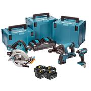Makita DLX3049PTJ 36v (Twin 18v) LXT 3 Piece Kit with 4 x 5Ah Batteries, Dual Charger and 3 x Cases