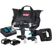 18v LXT Brushless Black Triple Kit with 2 x 2Ah Batteries, Charger and Bag