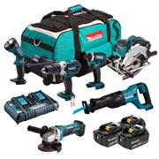 Makita DLX6072PT 18v LXT 6 Piece Kit with 3x 5Ah Batteries, Dual Charger and Bag