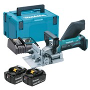 Makita DPJ180RTJ Makita DPJ180RTJ 18V LXT Biscuit Jointer Kit with 2 x 5Ah Batteries, Charger and Case