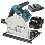 Makita DSP600RJ Makita Twin 18v Li-ion 3.0Ah Brushless Cordless Plunge Cut Saw Kit
