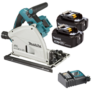 Makita DSP600TJ Makita Twin 18v Li-ion 5.0Ah Brushless Cordless Plunge Cut Saw Kit