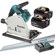 Makita DSP600RT-KIT1 Makita Twin 18v Li-ion 5.0Ah Brushless Cordless Plunge Cut Saw Kit