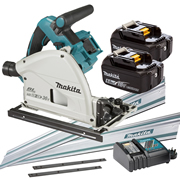 Makita DSP600RT-KIT2 Makita Twin 18v Li-ion 5.0Ah Brushless Cordless Plunge Cut Saw Kit
