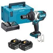 """Makita DTW1001RTJ 18v LXT Brushless 3/4"""" Impact Wrench with 2 x 5Ah Batteries, Charger and Case"""