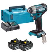 "Makita DTW180RMJ 18v LXT Brushless 3/8"" Impact Wrench with 2 x 4Ah Batteries, Charger and Case"