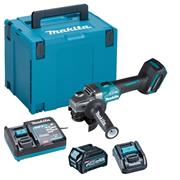 Makita GA004GD101 40V MAX XGT 115mm Brushless Angle Grinder with Slide Switch, 1x 2.5Ah Battery, Charger & Case