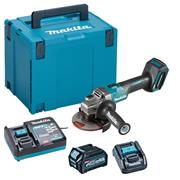 Makita GA005GD101 40V MAX XGT 125mm BrushlessAngle Grinder with Slide Switch, 1x 2.5Ah Battery, Charger & Case