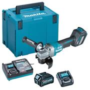 Makita GA028GD101 40V MAX XGT Brushless 115mm Paddlle Switch Brushless Grinder with 1x 2.5Ah Battery, Charger & Case