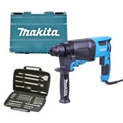 Makita HR2630PK 3 Mode SDS+ Rotary Hammer Drill & 17 Piece Accessory Pack