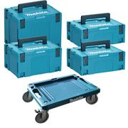 Makita STACK2 Makita STACK2 Stackable MakPac Case 4 Piece Set + Wheeled Base