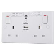 BG 922UWR 2 Gang Square Edged WiFi Extender Socket with USB
