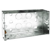BG HGS05-01 Metal Knockout Box 2 Gang 35mm Galvanised Pressed Steel
