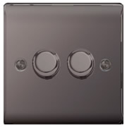 BG NBN82P Black Nickel 400W 2 Gang 2 Way Push Dimmer