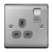BG NBS21G-01 Brushed Steel 13A 1 Gang Double Pole Switched Socket - Grey